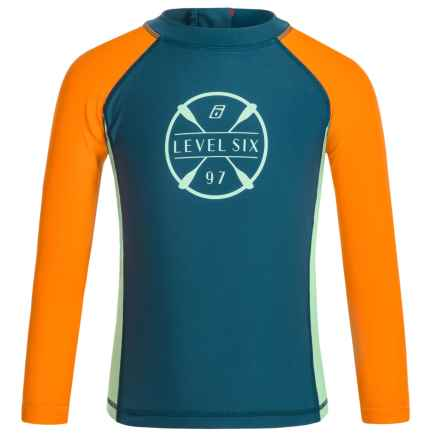 Level Six Slater Rash Guard Shirt - UPF 50+, Long Sleeve (For Boys) in Stoneblue/Orange - Closeouts