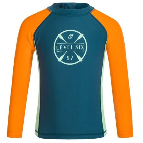 Level Six Slater Rash Guard Shirt - UPF 50+, Long Sleeve (For Boys) in Stoneblue/Orange