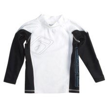 Level Six Slater Rash Guard Shirt - UPF 50+, Long Sleeve (For Boys) in White/Black - Closeouts