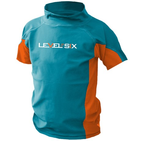 Level Six Slater Rash Guard Shirt - UPF 50+, Short Sleeve (For Boys) in Coastline Blue/Orange
