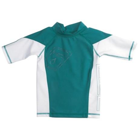 Level Six Slater Rash Guard Shirt - UPF 50+, Short Sleeve (For Boys) in Coastline Blue/Orange