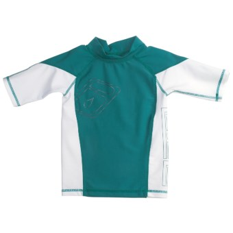 Level Six Slater Rash Guard Shirt - UPF 50+, Short Sleeve (For Boys) in Coastline Blue