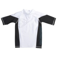 Level Six Slater Rash Guard Shirt - UPF 50+, Short Sleeve (For Boys) in White/Black - Closeouts