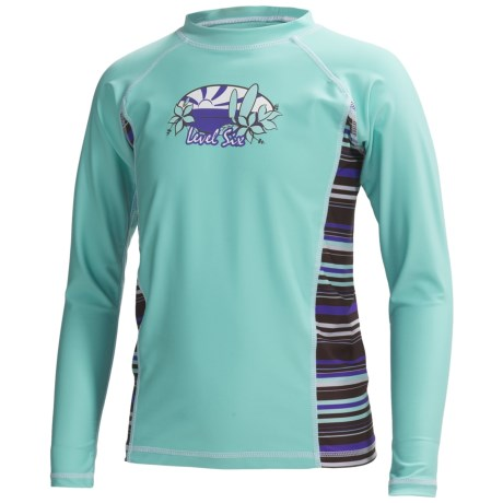Level Six Stella Rash Guard Shirt - UPF 50+, Long Sleeve (For Girls) in Aqua Sky