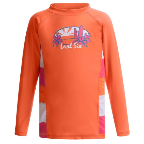 Level Six Stella Rash Guard Shirt - UPF 50+, Long Sleeve (For Girls) in Coral/Striped Coral