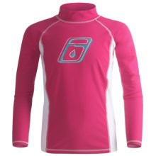 Level Six Stella Rash Guard Shirt - UPF 50+, Long Sleeve (For Girls) in Razzberry/White - Closeouts