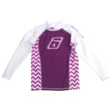 Level Six Stella Rash Guard Shirt - UPF 50+, Long Sleeve (For Girls) in White/Violet/Acute Waves - Closeouts
