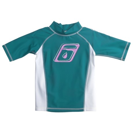 Level Six Stella Rash Guard Shirt - UPF 50+, Short Sleeve (For Girls) in Coastline Blue