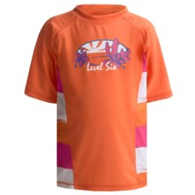 Level Six Stella Rash Guard Shirt - UPF 50+, Short Sleeve (For Girls) in Coral/Striped Coral - Closeouts