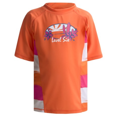 Level Six Stella Rash Guard Shirt - UPF 50+, Short Sleeve (For Girls) in Coral/Striped Coral
