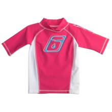 Level Six Stella Rash Guard Shirt - UPF 50+, Short Sleeve (For Girls) in Razzberry/White - Closeouts