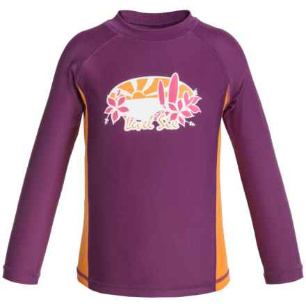 Level Six Stella Rash Guard - UPF 50+, Long Sleeve (For Little and Big Girls) in Grape Juice - Closeouts