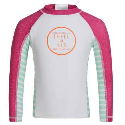 Level Six Stella Rash Guard - UPF 50+, Long Sleeve (For Little and Big Girls) in Pink Confetti - Closeouts