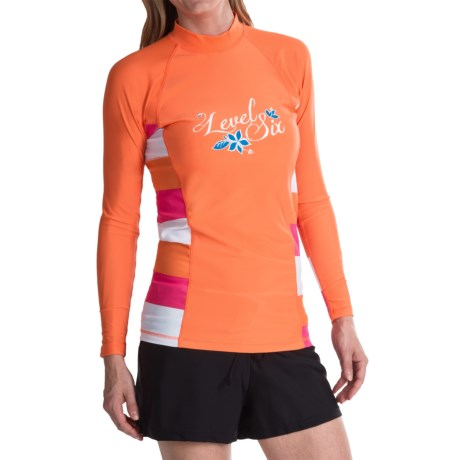 Level Six Venus Rash Guard Shirt - UPF 50+, Long Sleeve (For Women) in Coral/Stripe Coral
