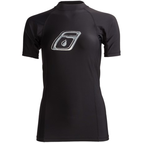 Level Six Venus Rash Guard Shirt - UPF 50+, Short Sleeve (For Women) in Black