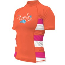 Level Six Venus Rash Guard Shirt - UPF 50+, Short Sleeve (For Women) in Coral/Stripe Coral - Closeouts