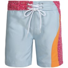 Level Six Zoe Microfiber Surf Shorts (For Little and Big Girls) in Blue Wind - Closeouts
