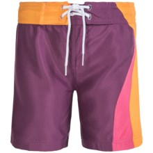 Level Six Zoe Microfiber Surf Shorts (For Little and Big Girls) in Grape Juice - Closeouts