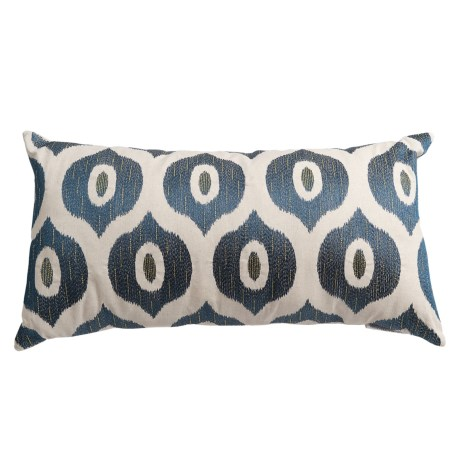 "Levinsohn Metallic-Stitched Throw Pillow - 14x26"", Feathers in Dark Blue"