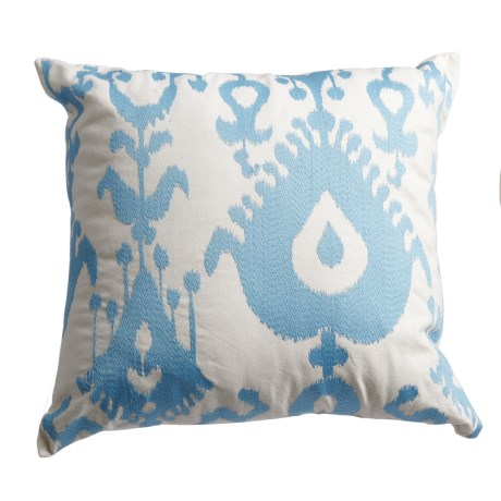 "Levinsohn Stitched-Medallion Throw Pillow - 18x18"" in Light Blue"