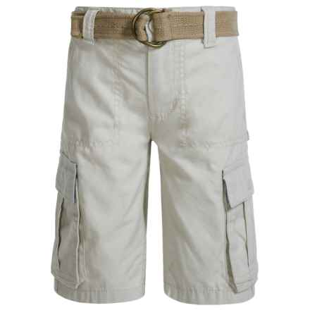 Levi's Belted Ripstop Cargo Shorts - Relaxed Fit (For Big Boys) in Silver Birch - Closeouts
