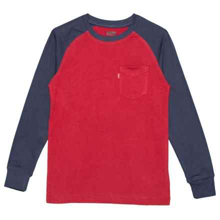 Color-Block Raglan Shirt - Long Sleeve (For Big Boys) in Chili Pepper - Closeouts