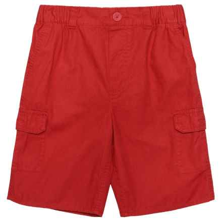 Elastic Waistband Cargo Shorts (For Big Boys) in Pompeian Red - Closeouts