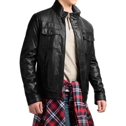 Levi's Faux-Leather Trucker Jacket - Sherpa Lining (For Men) in Black - Closeouts
