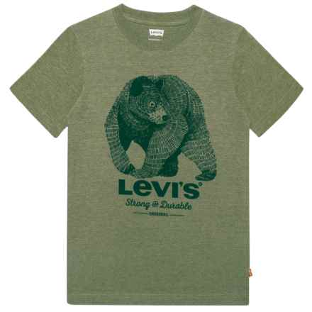 Graphic Logo T-Shirt - Short Sleeve (For Big Boys) in Olivine Overdyed Gray Heather - Closeouts