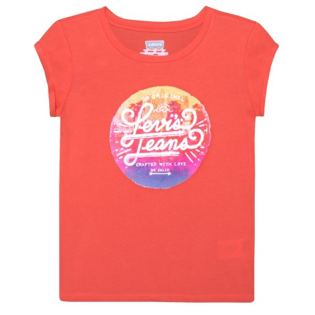 Levi's Graphic T-Shirt - Short Sleeve (For Big Girls) in Hot Coral