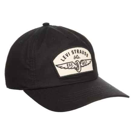 Ripstop Patch and Striped Underbrim  Baseball Cap (For Men) in Black - Closeouts