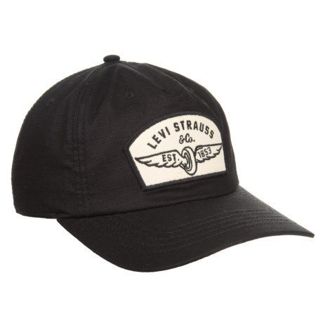 Levi's Ripstop Patch and Striped Underbrim  Baseball Cap (For Men) in Black