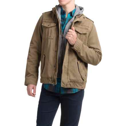 Levi's Twill Trucker Jacket with Hooded Bib (For Men) in Khaki - Closeouts