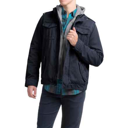 Levi's Twill Trucker Jacket with Hooded Bib (For Men) in Navy - Closeouts
