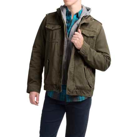 Levi's Twill Trucker Jacket with Hooded Bib (For Men) in Olive - Closeouts