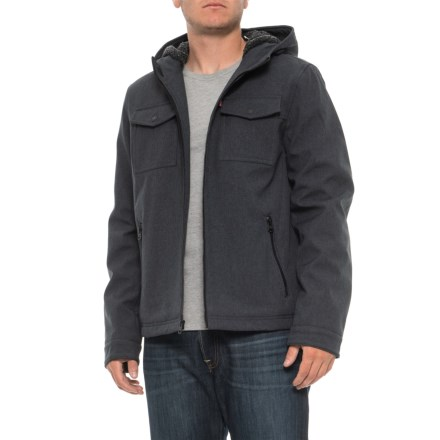 c8320fc869038 Two Pocket Trucker Jacket - Insulated (For Men) in Heather Navy - Closeouts