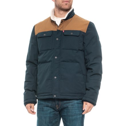 da1578cbc4 Woodsman Shirt Jacket - Insulated (For Men) in Navy Worker Brown -  Closeouts. Show Brand Levi s