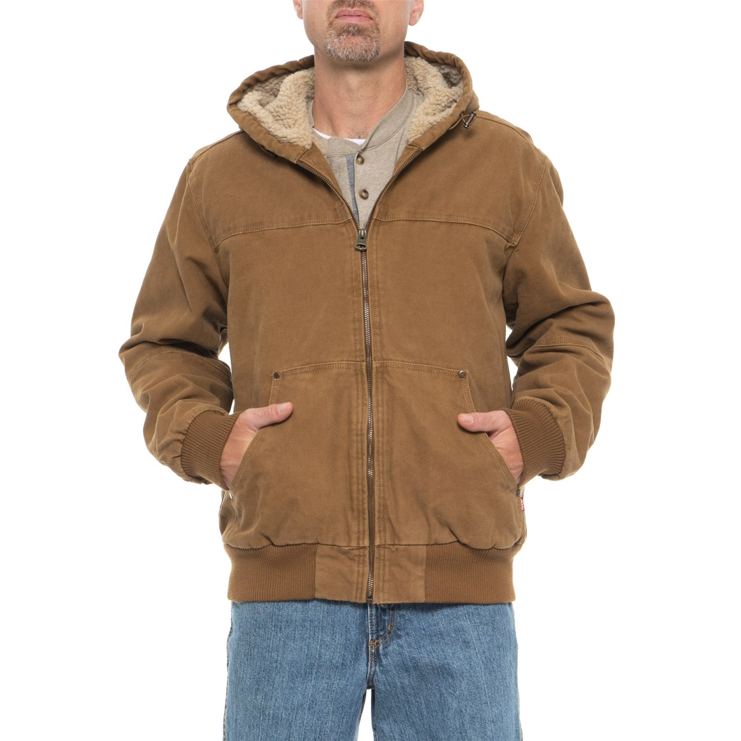 Levis Workwear Canvas Hooded Bomber Jacket For Men Save 33 Jaket Parka Blazer Baby Cotton In Worker Brown
