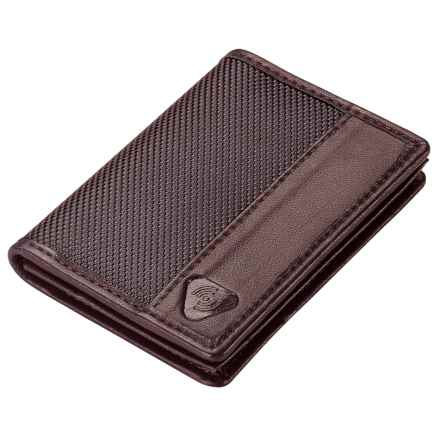 Lewis N Clark Ballistic RFID Card and ID Wallet in Chocolate - Closeouts