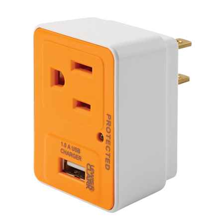 Lewis N Clark Compact Surge Protector and USB Charger in White - Closeouts