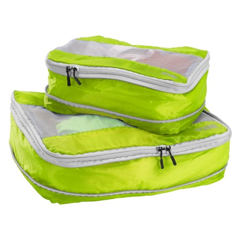 Lewis N Clark Electrolight Expandable Packing Cubes - 2-Pack, Medium and Large in Neon Lemon