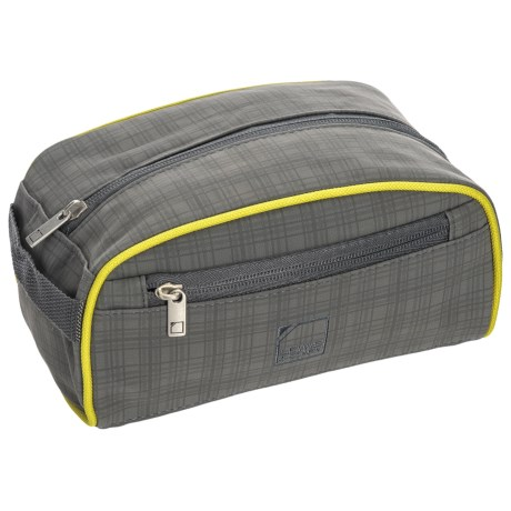 Lewis N Clark Plaid Toiletry Kit in Charcoal/Yellow