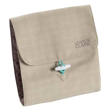 Lewis N Clark Plaid Travel Jewelry Roll in Beige/Mint - Closeouts