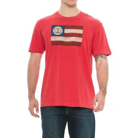 Life is good® Baseball Flag Crusher T-Shirt - Short Sleeve (For Men) in Americana Red - Closeouts