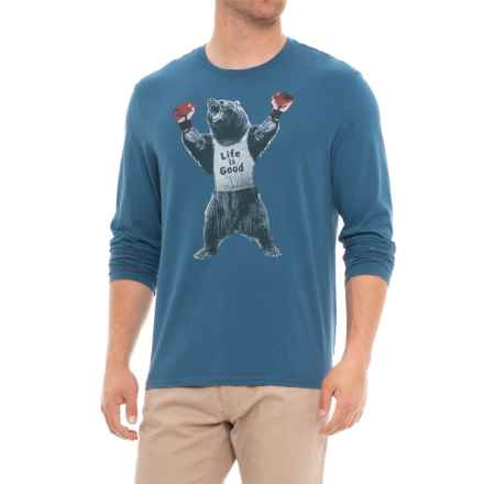 Life is good® Bear Boxer Smooth T-Shirt - Long Sleeve (For Men) in Vintage Blue - Closeouts