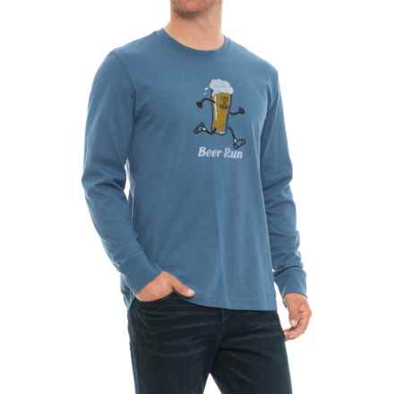 Life is good® Beer Run Crusher T-Shirt - Long Sleeve (For Men) in Heather Vintage Blue - Closeouts
