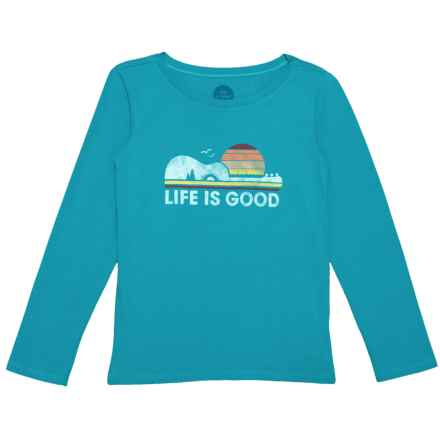 Life is good® Camp Guitar Crusher T-Shirt - Long Sleeve (For Little and Big Girls) in Cool Turquoise - Closeouts