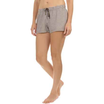 Life is good® Cotton Sleep Boxers (For Women) in Shale Brown Gingham Plaid - Closeouts