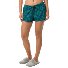 Life is good® Cotton Sleep Boxers (For Women) in Teal Blue Houndstooth - Closeouts
