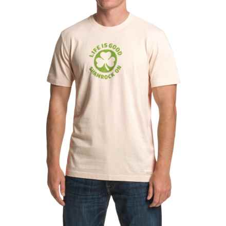 Life is good® Crusher™ T-Shirt - Short Sleeve (For Men) in Putty White Shamrock On - Closeouts